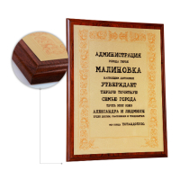 Основа - плакетка ламинат  вишня, формат А4, металлическая пластина - золото матовое. Сублимационная печать.