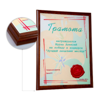 Основа - плакетка ламинат  вишня, формат А4, металлическая пластина - белая. Сублимационная печать.