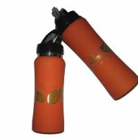 Спортивные бутылки, материал - крашенный алюминий, лазерная (газовая) гравировка по цилиндрической поверхности (опоясывающая)