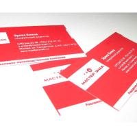 Основа - дизайнерский картон  TOUCHE`COVER красный, имеющий приятную шелковистую структуру. Печать методом шелкографии 1+0, дополнительно применено тиснение логотипа прозрачной фольгой.