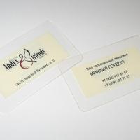 Основа - Zenopet. толщина 0,5 мм, прозрачный гибкий материал. Использовано 2 вида печати - методом шелкографии выполнен фон бежевого оттенка, методом тампопечати (2+1) нанесена информация.
