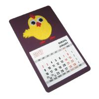 Декоративное изделие в виде магнита-календаря, размер 8,5х14,5 см с символом года Петуха (модель № 2). Основа - дизайнерский картон TOUCHE`COVER матовый сливовый, 301 г, символ изготовлен из комбинации фетра желтого и красного цветов с дополнительными декоративными элементами в виде игрушечных глазок с бегающими зрачками. Стандартный календарный блок 12 листов, печать 2+0.  Дополнительная информация о данном изделии представлена в специальном предложении.
