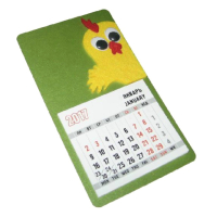 Декоративное изделие в виде магнита-календаря, размер 8,5х14,5 см с символом года Петуха (модель № 3). Основа - дизайнерский картон COCTAIL металлик мятный 290 г, символ изготовлен из комбинации фетра желтого и красного цветов с дополнительными декоративными элементами в виде игрушечных глазок с бегающими зрачками. Стандартный календарный блок 12 листов, печать 2+0.  Дополнительная информация о данном изделии представлена в специальном предложении.