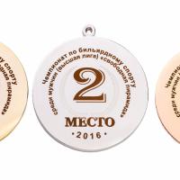 Для изготовления медалей использованы металлические заготовки разных цветов (золото, серебро бронза).  Изображение нанесено методом лазерной гравировки. Места 1 и 2  выполнены с помощью двух режимов гравировки, что позволило получить два оттенка изображения. По желанию для медали может быть подобран декоративный футляр.